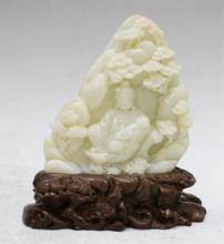Chinese White Jade Sculpture of Buddha & Mountain
