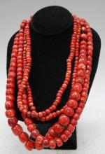 Set of 4 Chinese Dyed Mongolian Coral Beads