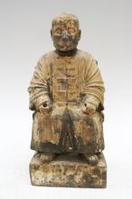 Chinese Wooden Ancestral Figure Sitting in a Chair