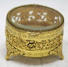 Brass & Crystal Filigree Jewelry Box
