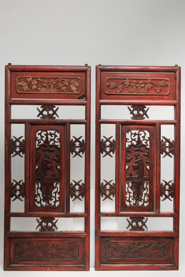 Chinese carved painted wood furniture panels 2 for Oriental wood carved furniture