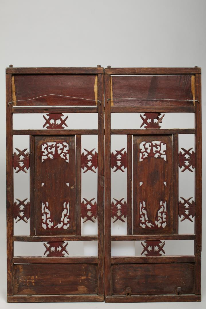 Chinese Carved Painted Wood Furniture Panels 2