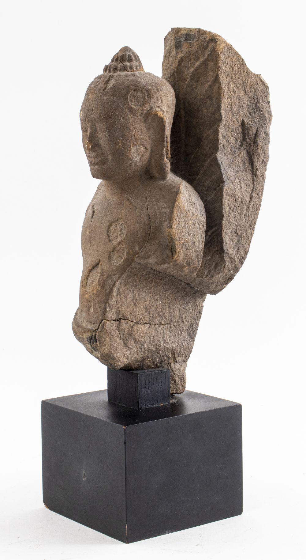 Khmer Red Sandstone Figure of the Buddha