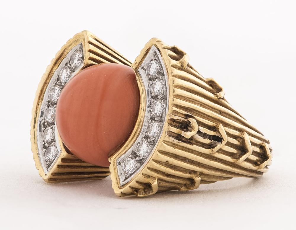 Art Deco Revival 18K Gold Coral & Diamond Ring