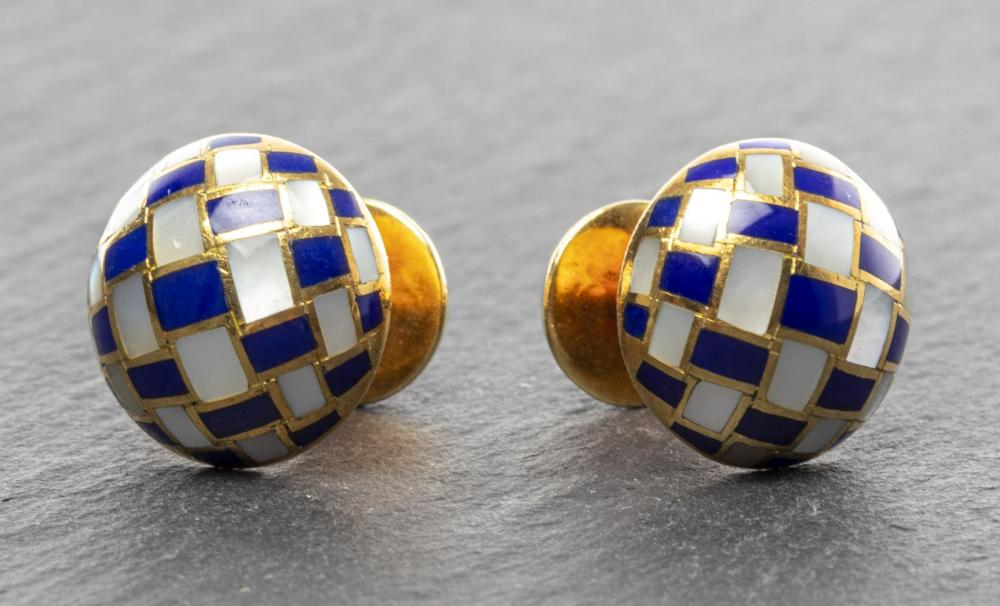 Tiffany & Co. 18K Yellow Gold Lapis/MOP Cufflinks