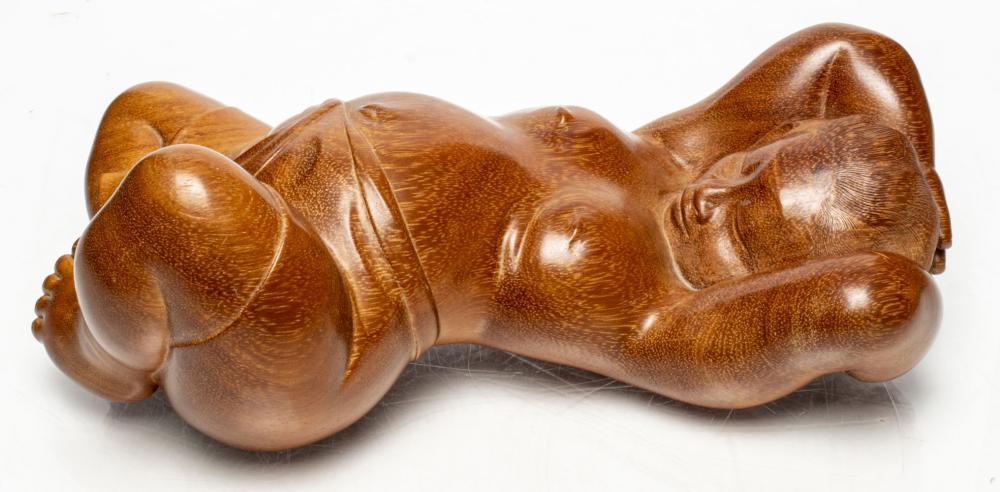 """Ida Bagus Tilem """"Sleeping Figure"""" Carved Teak"""