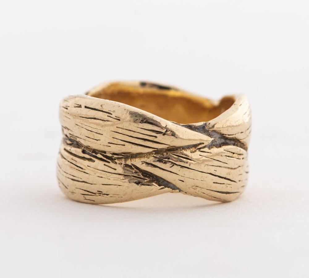 Estate 14K Yellow Gold Woven Leaf Motif Wide Ring