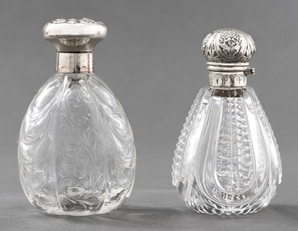 Edwardian Sterling Silver & Glass Perfume Bottles