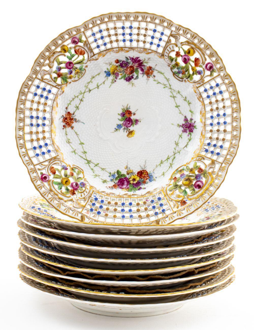 Dresden German Reticulated Porcelain Plates, 9