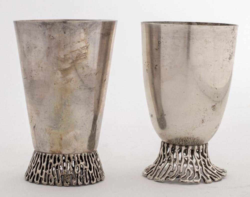 Judaica Sterling Silver Kiddush Cups, Pair