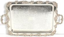 Ornate English Silver-Plate Wine Serving Tray