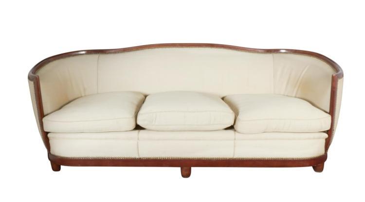 Large Art Deco Mahogany Tub Sofa