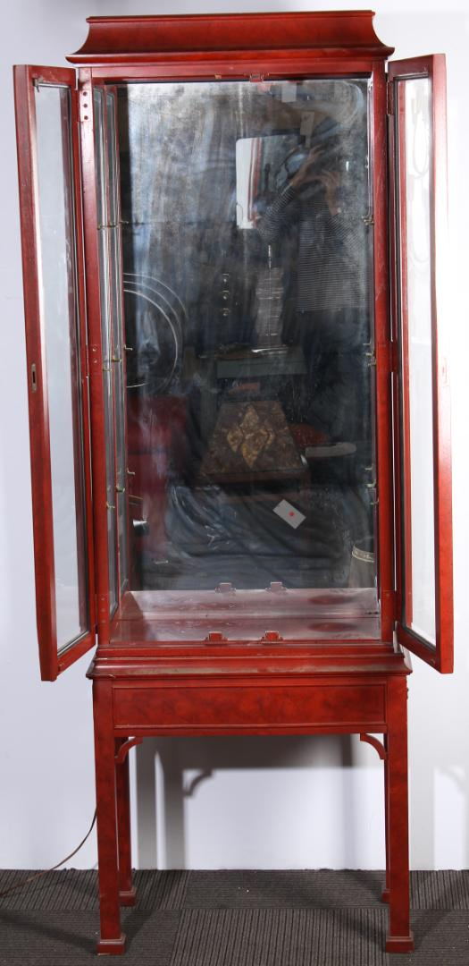 Century Red Display Cabinet