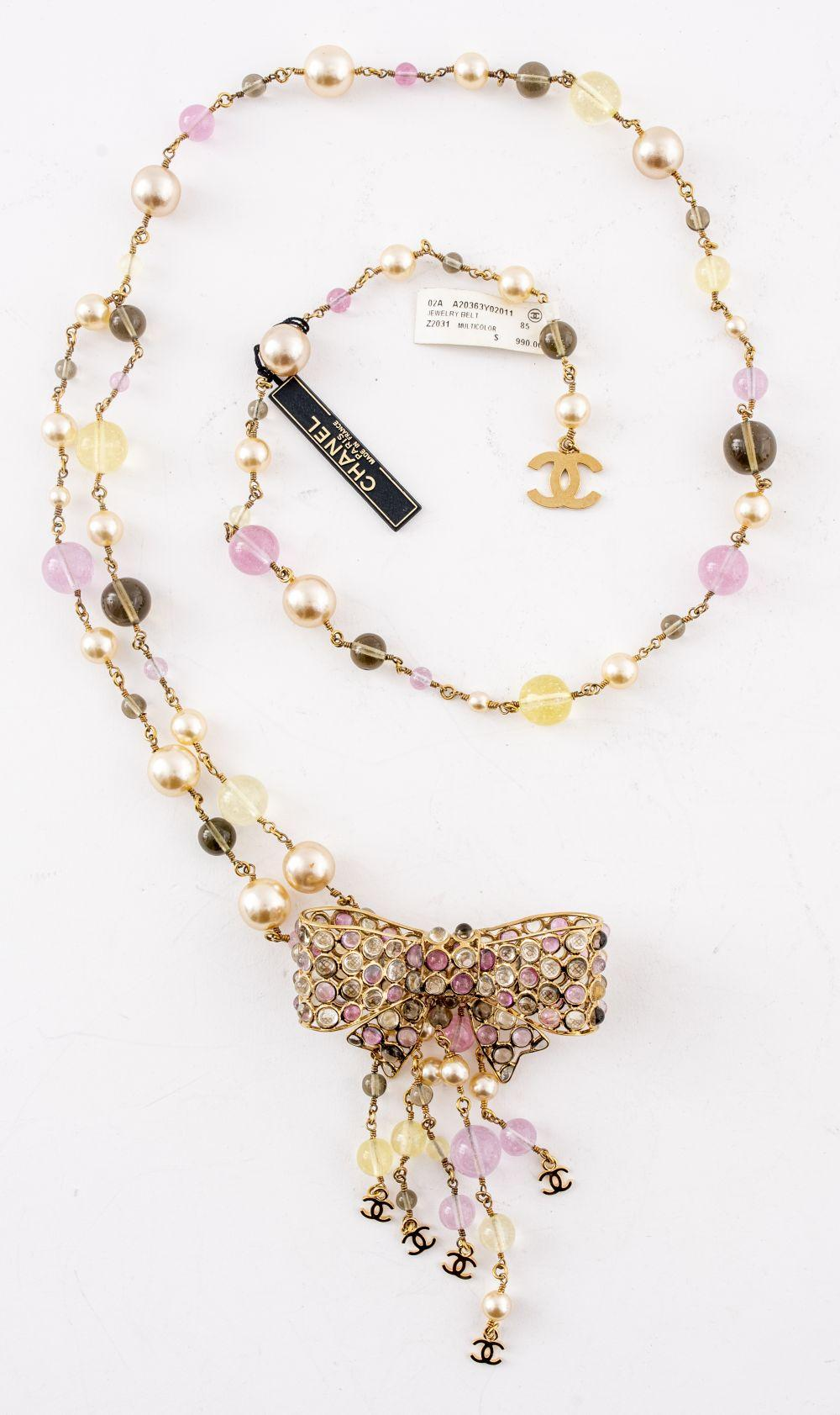 """Chanel Gripoix and Faux Pearl """"Bow"""" Belt"""