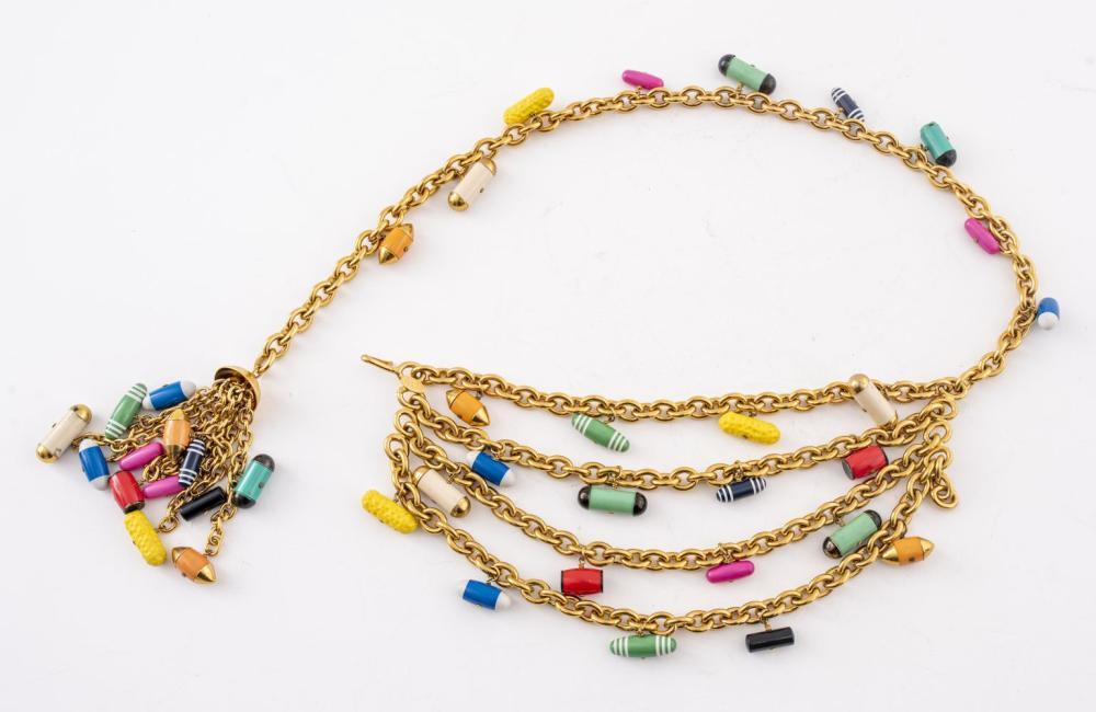 Chanel Gold-Tone Link & Enamel Pill Charm Belt