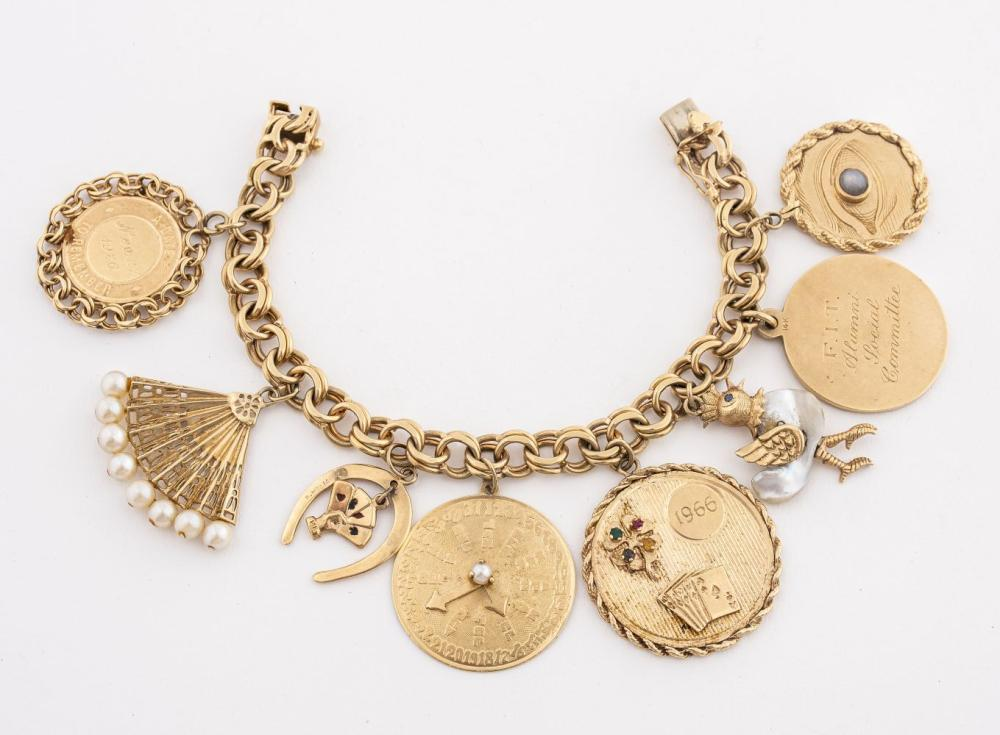 14K Gold Colored Stone & Pearl Charm Bracelet
