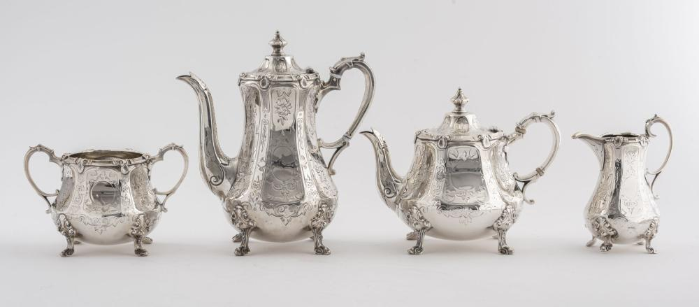 English Sterling Silver Four-Piece Tea Service