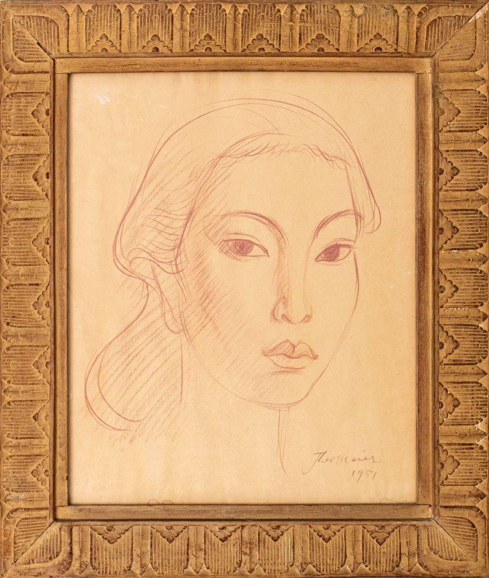 "Theo Meier ""Portrait of a Woman"" Drawing"