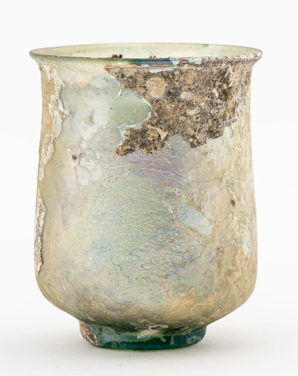 Ancient Roman Pale Green Glass Beaker