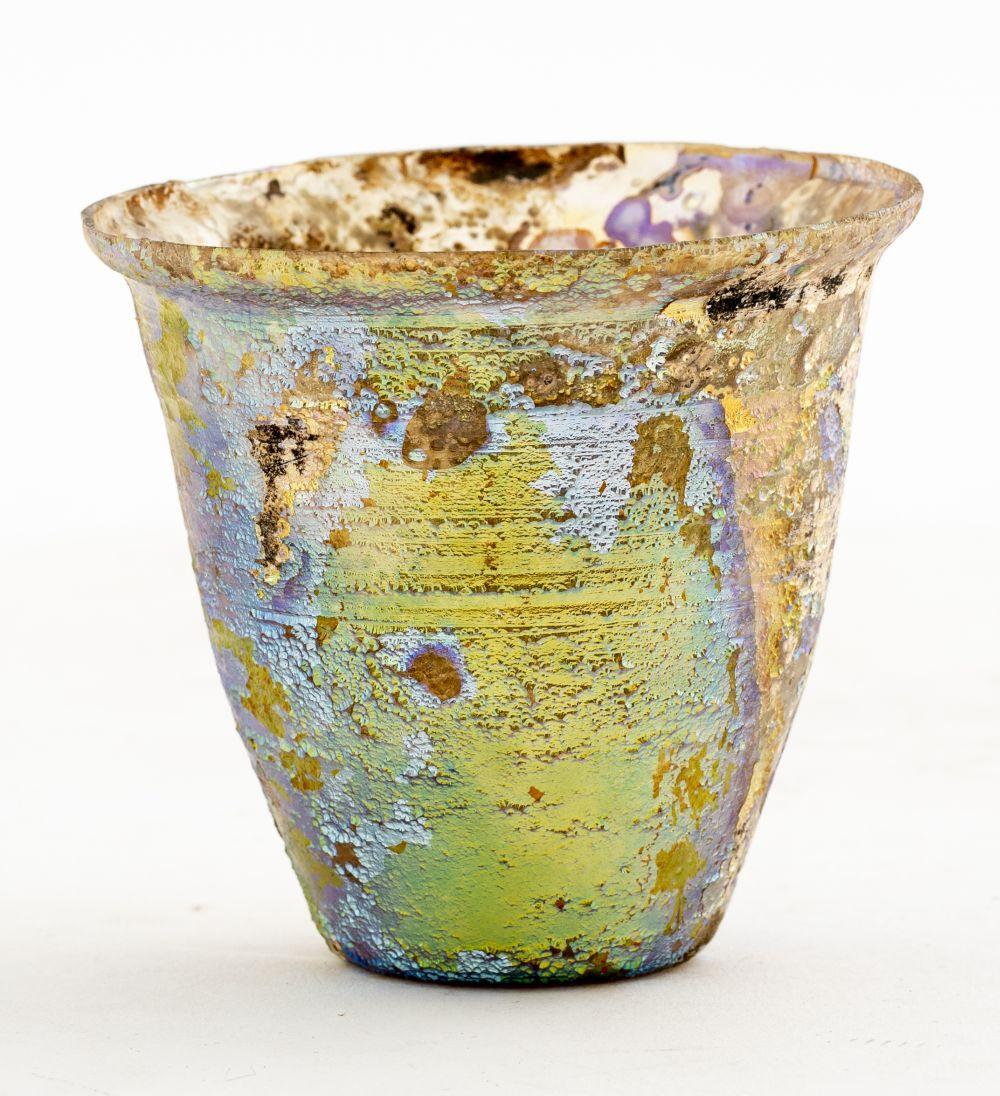 Ancient Roman Iridescent Clear Glass Beaker