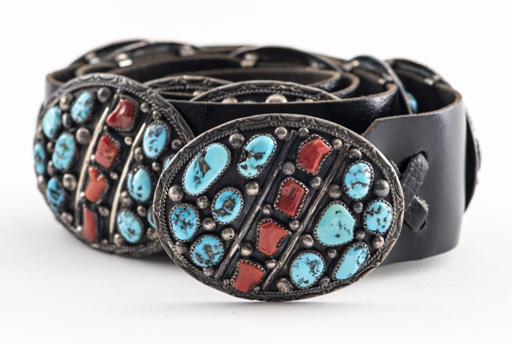 Navajo Silver Turquoise & Coral Concho Belt