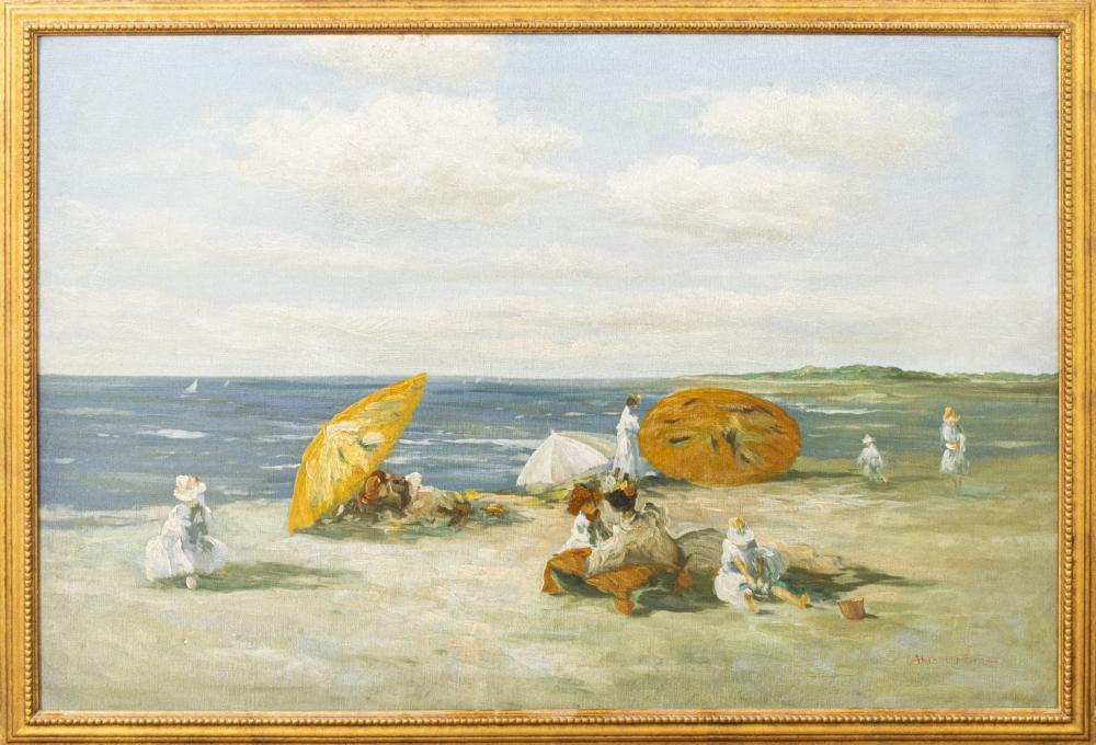 Amstrong Signed Beach Scene Oil on Canvas