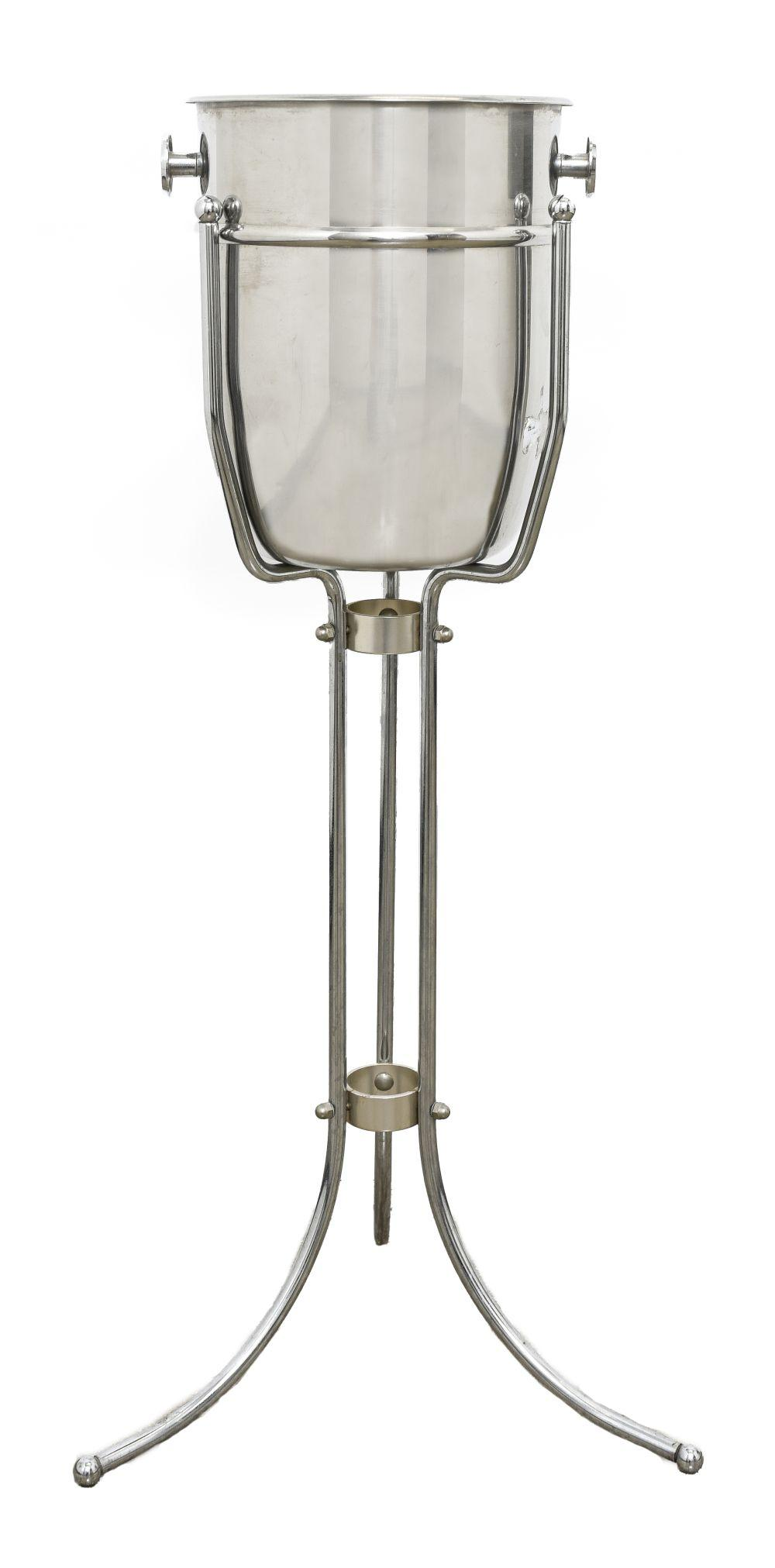Art Deco Style Chrome And Steel Champagne Bucket