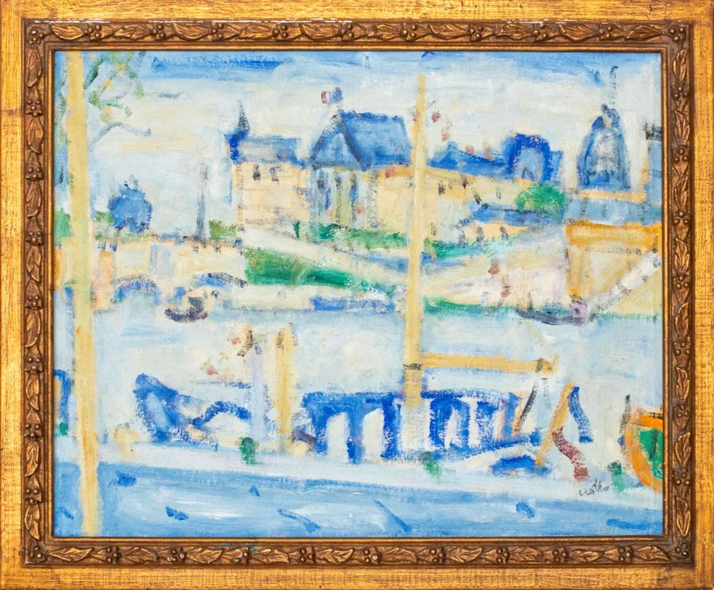 Paul Crotto Canal Scene French Oil Painting