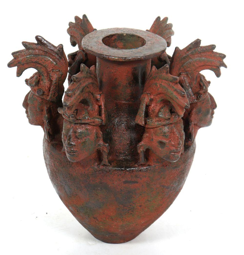 Pre-Columbian Manner Large Figurehead Floor Vase