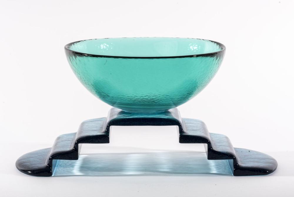 Postmodern Art Glass Bowl On Stepped Glass Base