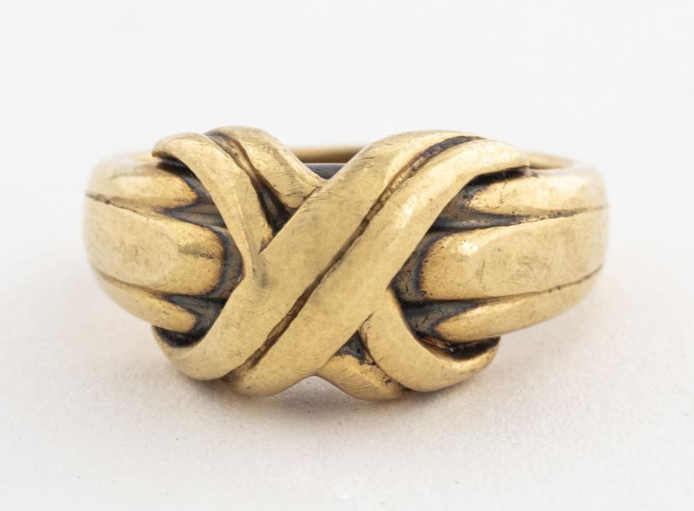 "Tiffany & Co Style 18K Gold ""X"" Ring, Vintage"
