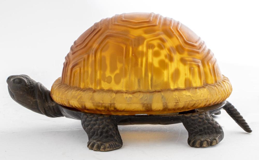Andrea by Sadek Metal and Glass Turtle Lamp