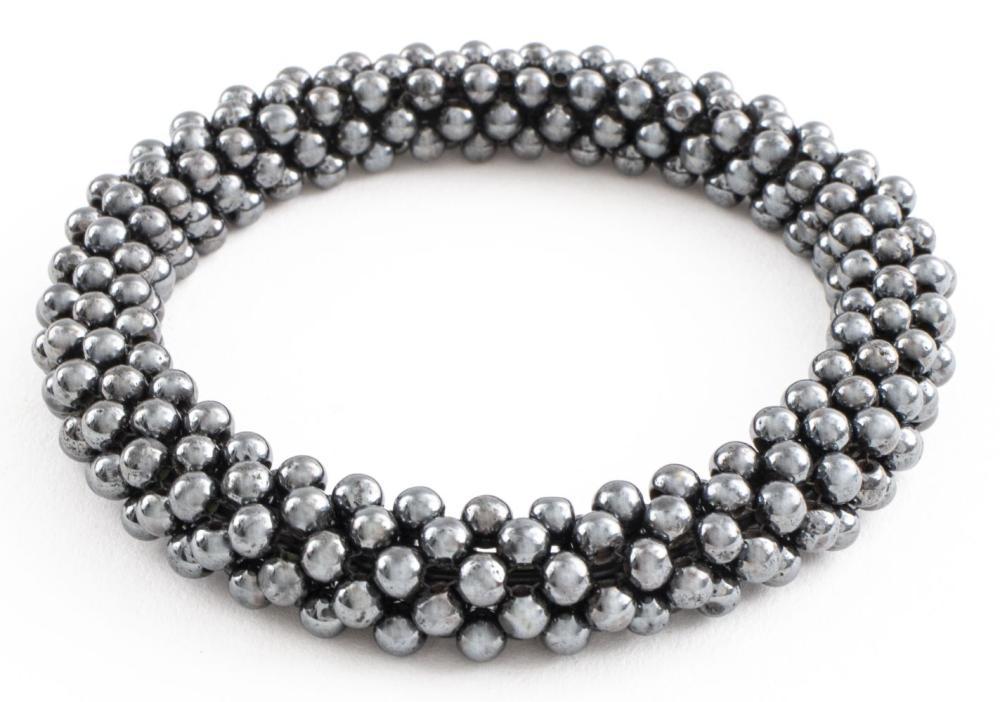 Hematite Woven Beaded Bangle Bracelet