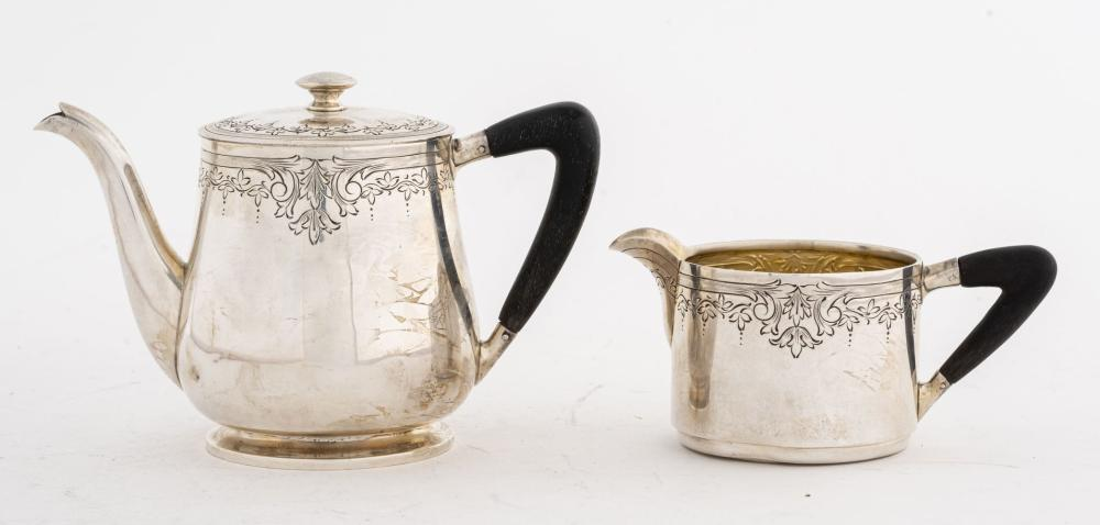 Sterling Silver Teapot and Creamer, 2.