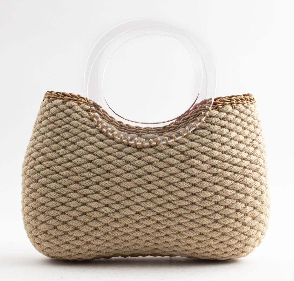 Oscar De La Renta Rope And Lucite Handbag