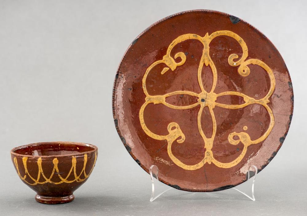 Antique American Redware Glazed Bowl & Plate, 2