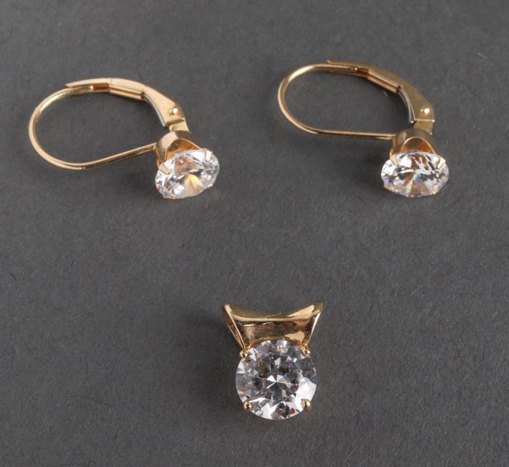 Diamonique 14K Yellow Gold & CZ Earrings & Pendant