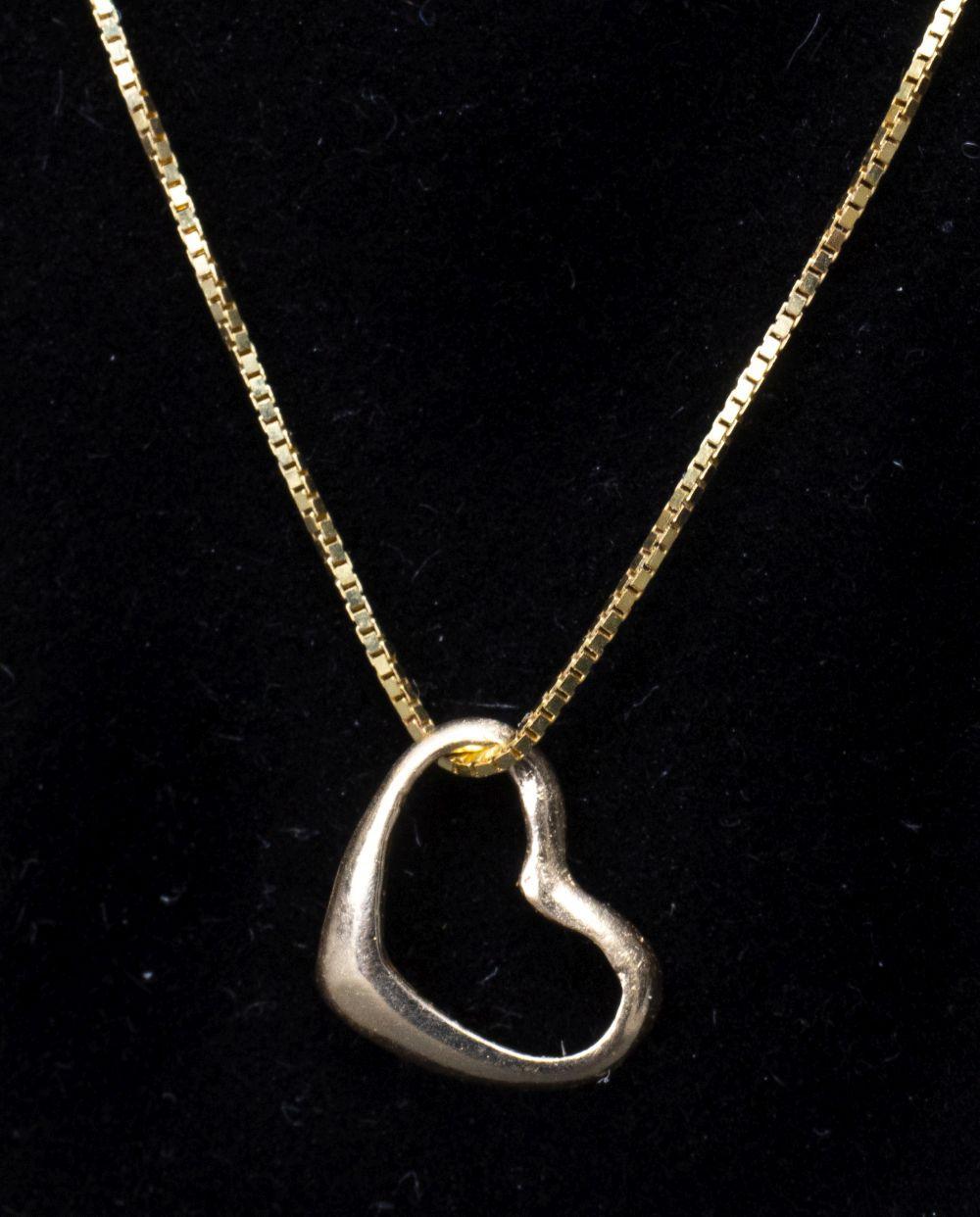 14K Yellow Gold Open Heart Pendant On 10K Chain