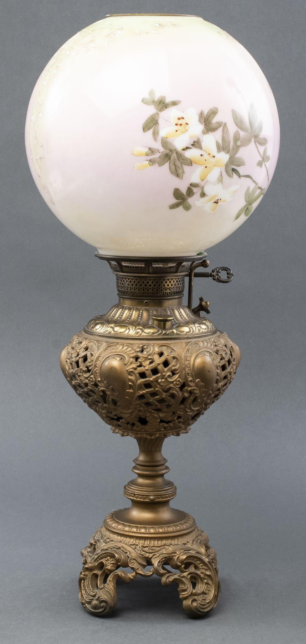 Victorian Gilt Metal & Painted Glass Parlor Lamp