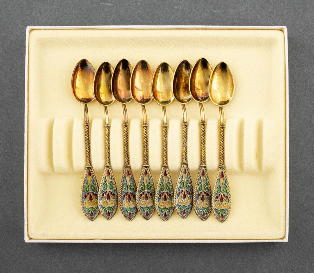 Norwegian Vermeil & Plique a Jour Spoons, 8 PCS.