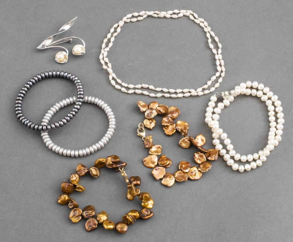 Misc. Pearl Jewelry, Incl. Bracelets, Necklace, 7