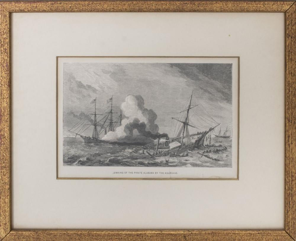 """19th C. Roberts, """"Sinking of the Pirate Alabama.."""""""