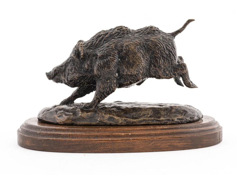 Animalier Style Bronze Charging Boar