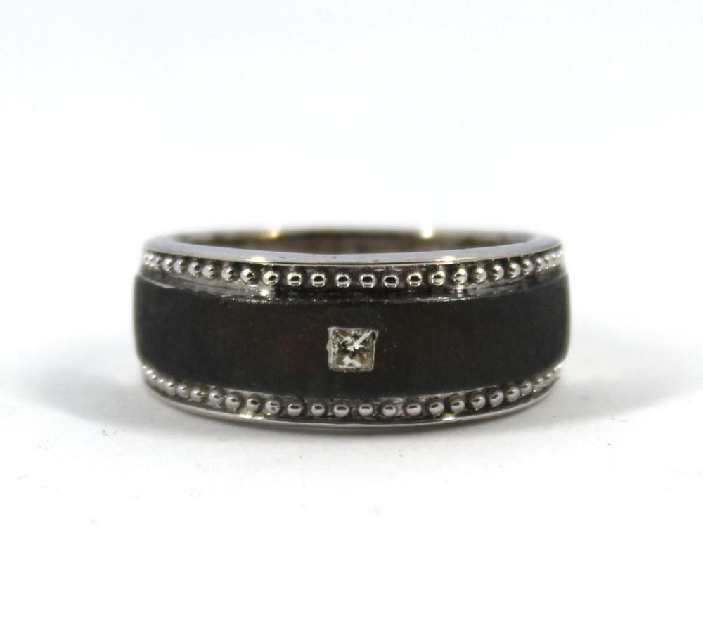 Silver & Diamond Textured Men's Ring