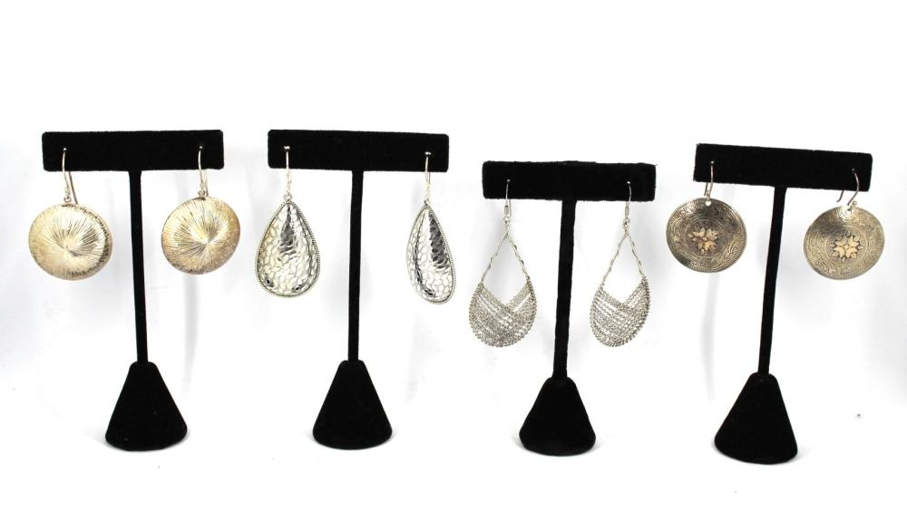 Modern Silver Dangle Earrings (4 Pairs)
