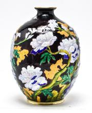 Camille Faure Limoges Peony Motif Enameled Vase
