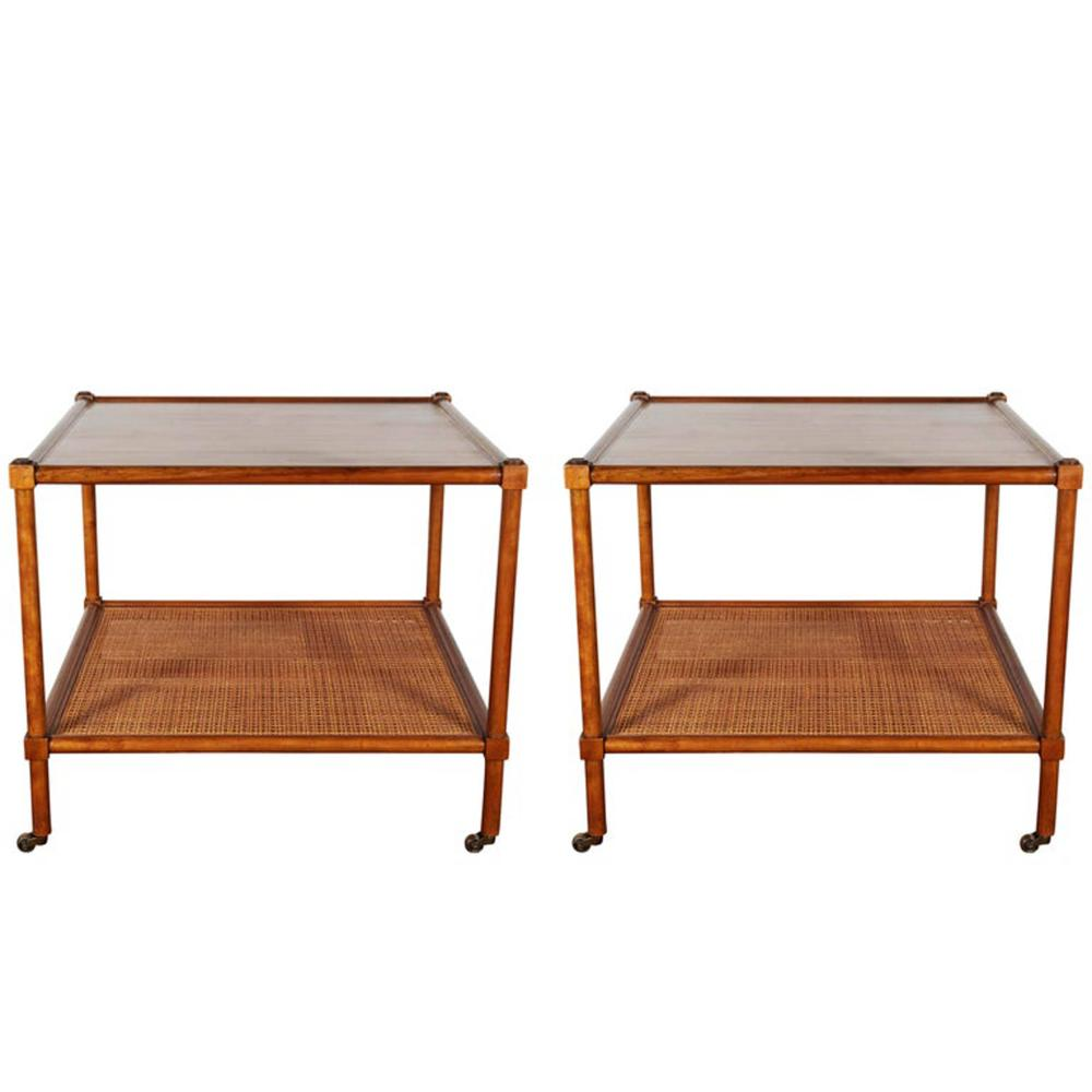 Fabulous Lot 25 Baker Furniture Side Tables W Cane Shelf Pr Spiritservingveterans Wood Chair Design Ideas Spiritservingveteransorg