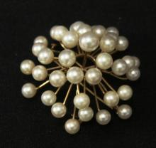 14K Gold & Pearl Dimensional Sunburst Brooch