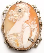 Antique Italian 14K, Gold, Shell & Diamond Cameo