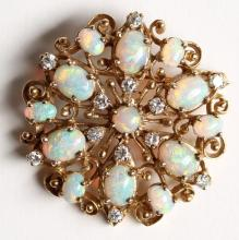 14K Opal & Diamond Pendant Brooch